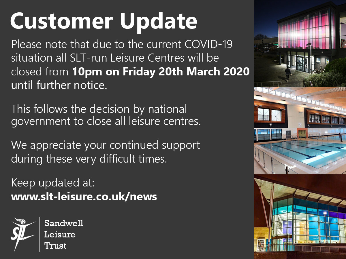 All Sandwell Leisure Trust Centres Closed